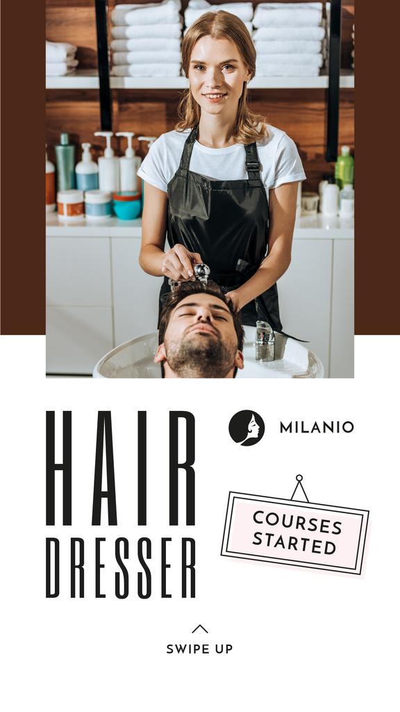 Hairdressing Courses stylist with client in Salon — ein Design erstellen