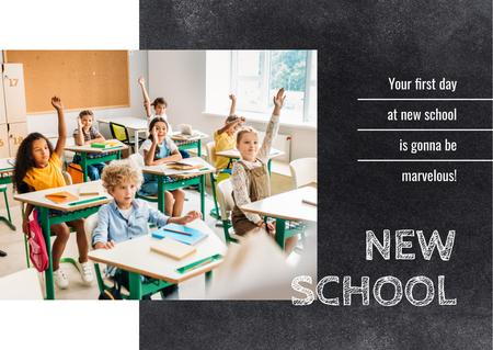 Kids studying in classroom Postcard Design Template