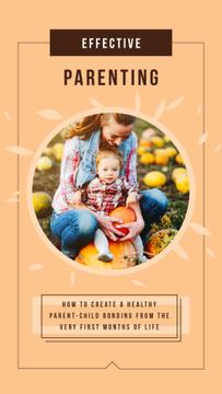 Mother with Her Daughter with Pumpkins in Autumn | Vertical Video Template