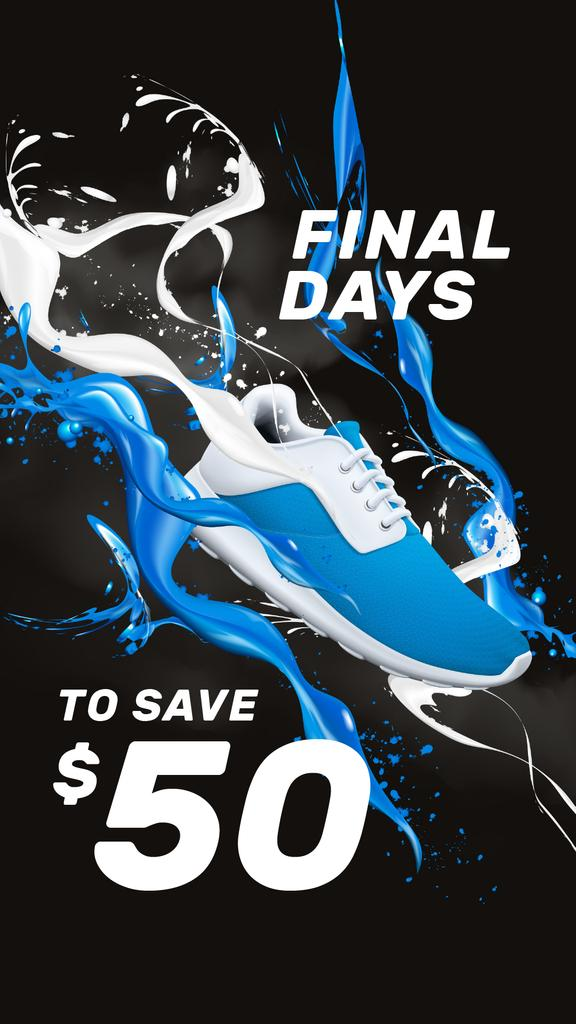 Sneaker Sale Announcement in Blue and White — Crear un diseño