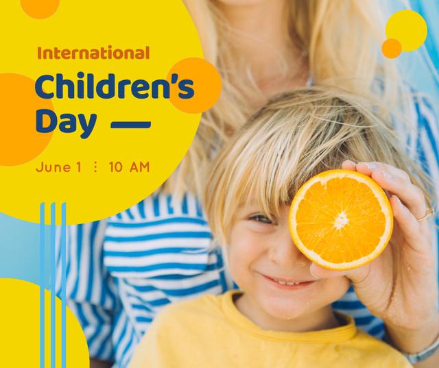 Smiling kid holding orange on Children's Day Facebook Modelo de Design