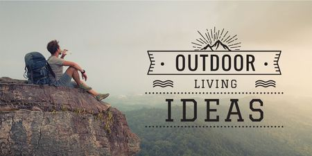 Ontwerpsjabloon van Twitter van Outdoor Tour with Traveller Enjoying Mountains View