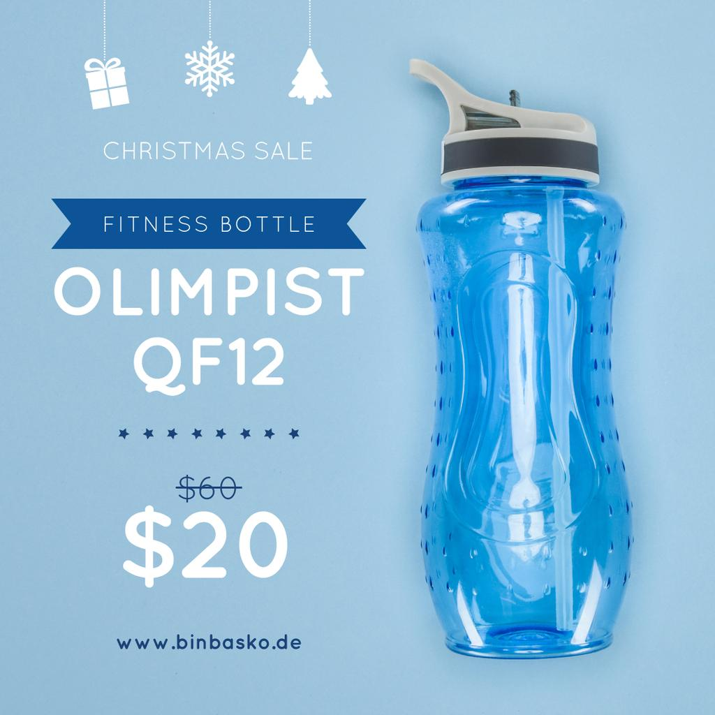 Christmas Sale Water Bottle in Blue — Create a Design
