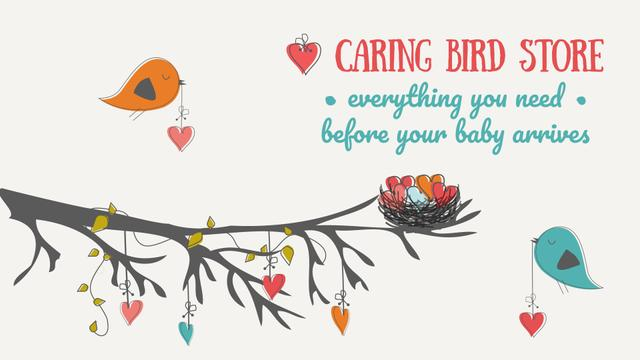 Designvorlage Expecting Baby Birds Decorating Tree with Hearts für Full HD video