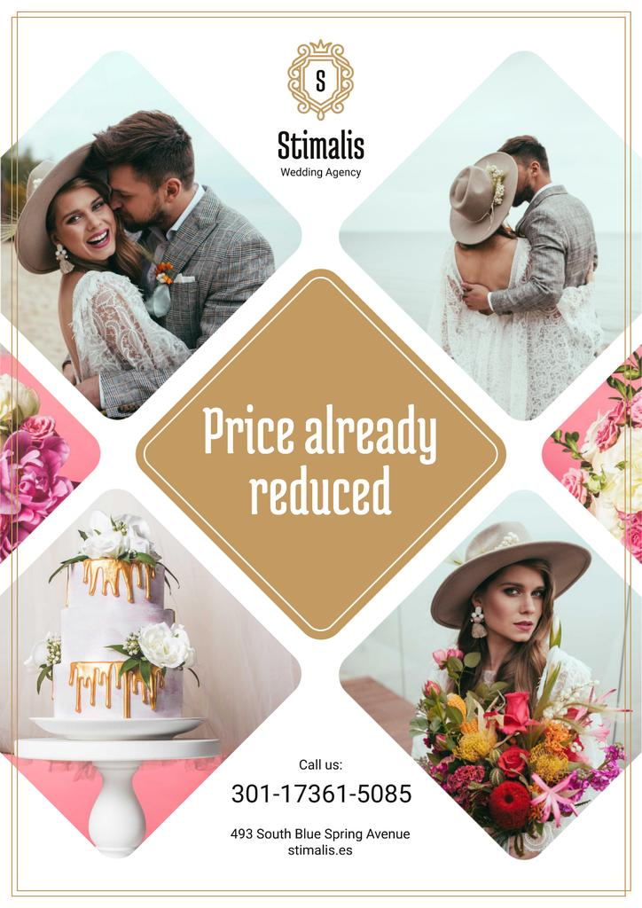 Wedding Agency Services Ad with Happy Newlyweds Couple Poster Design Template