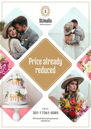 Wedding Agency Services Ad with Happy Newlyweds Couple Poster Tasarım Şablonu