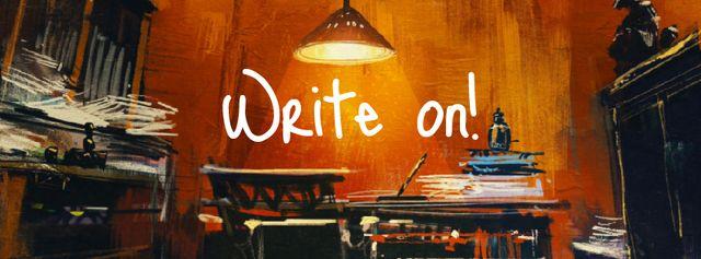 Plantilla de diseño de Writers workplace in mess Facebook Video cover