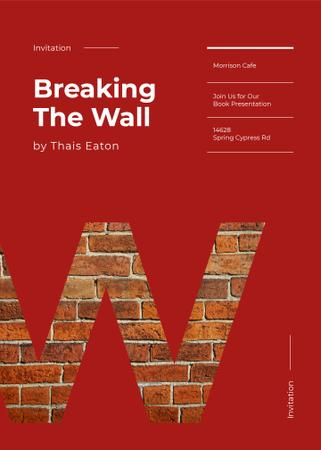 Plantilla de diseño de W letter with brick wall texture Invitation