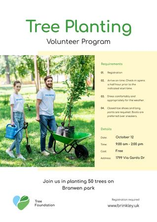 Modèle de visuel Volunteer Program Team Planting Trees - Poster
