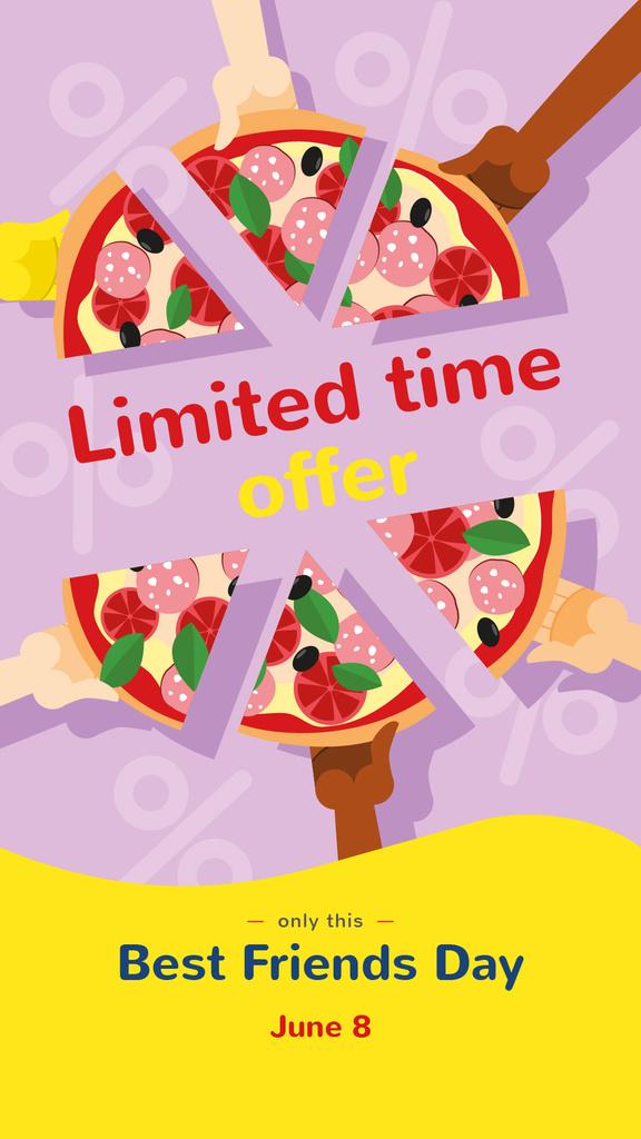 People sharing pizza on Best Friends Day — Crear un diseño