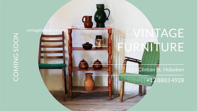 Vintage Furniture Shop Ad Antique Cupboard FB event cover Tasarım Şablonu