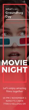 Movie Night Event Woman in 3d Glasses | Wide Skyscraper Template