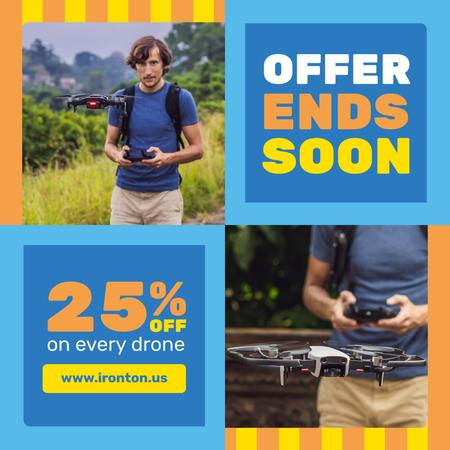 Tech Sale with Man Launching Drone Instagram Tasarım Şablonu