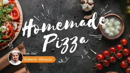 Homemade Pizza Ad with Chef Youtube Thumbnail Modelo de Design