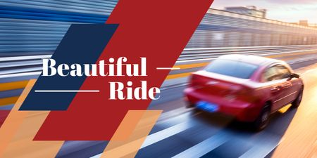Designvorlage Blurred red car driving fast on road with text beautiful ride für Image