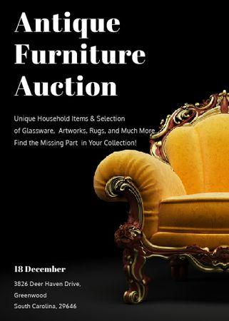 Plantilla de diseño de Antique Furniture Auction Luxury Yellow Armchair Flayer