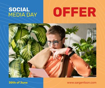 Social Media Day Offer Man Using Digital Tablet | Facebook Post Template