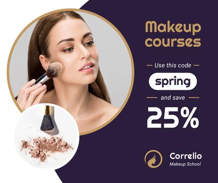 Makeup Courses offer Woman applying Foundation Facebookデザインテンプレート