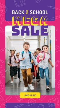 Back to School Sale Running Kids at School