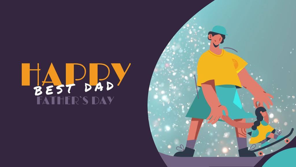 Father with Daughter skateboarding on Father's Day  — Crear un diseño