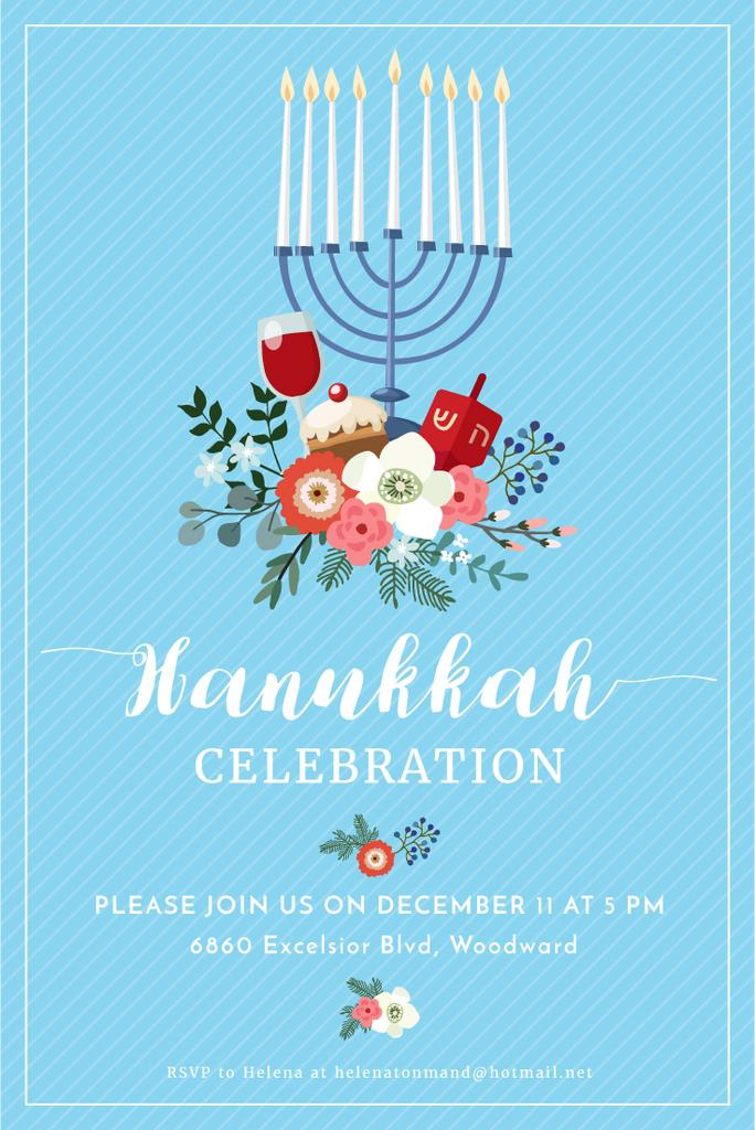 Hanukkah Celebration Invitation with Menorah on Blue — Modelo de projeto