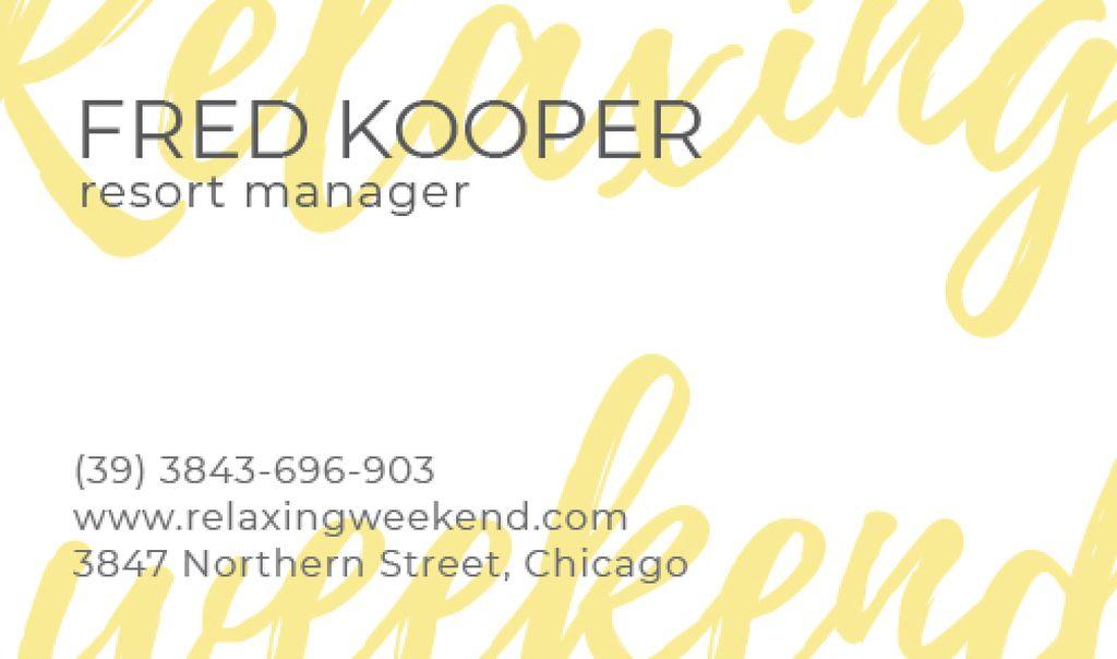 resort manager business card — Créer un visuel