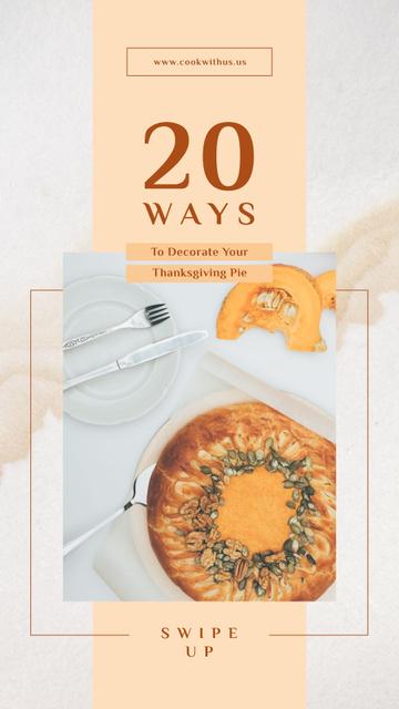 Modèle de visuel Thanksgiving Baked pumpkin pie - Instagram Story