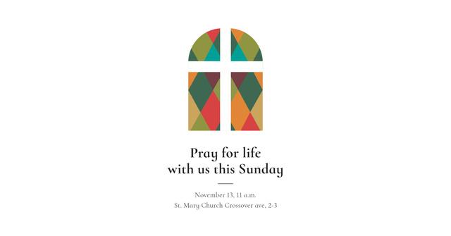 Invitation to Pray with Church Window illustration Facebook AD Modelo de Design