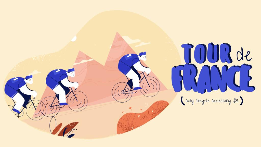 Tour De France Offer Cyclists Riding in Mountains | Square Video Template — Maak een ontwerp