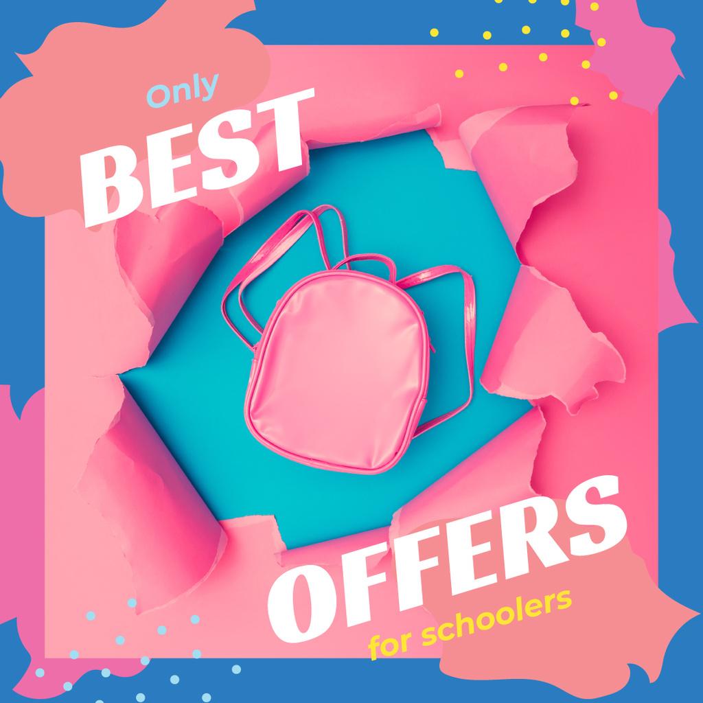 Back to School Offer Pink Backpack in Torn Paper | Instagram Post Template — Создать дизайн
