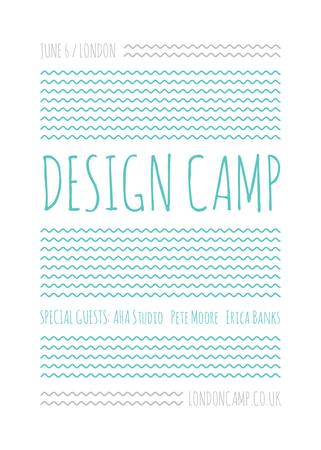 Design camp announcement on Blue waves Flayer Tasarım Şablonu