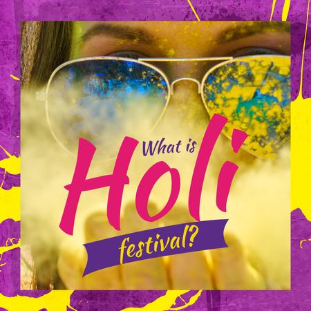 Girl with paint at Indian Holi festival Instagram AD Design Template