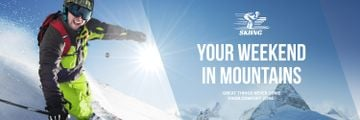 Winter Tour Offer Man Skiing in Mountains | Twitter Header Template