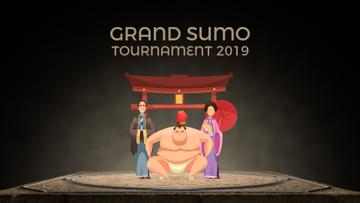 Sumo fighter with his supporters