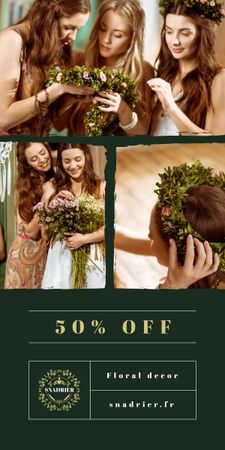 Florist Services Offer Women with Floral Wreath Graphic Modelo de Design