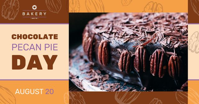 Chocolate Pecan Pie Day Offer Sweet Cake Facebook AD Design Template