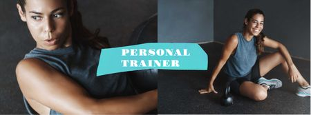 Woman coach at Fitness classes Facebook cover Modelo de Design