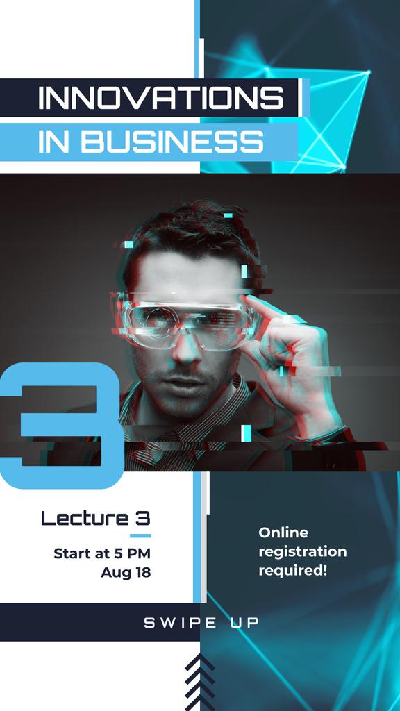 Innovative Technology Ad Man Using VR Glasses Instagram Story Modelo de Design