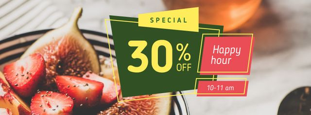 Template di design Happy Hour offer with Fruit Dish Facebook cover