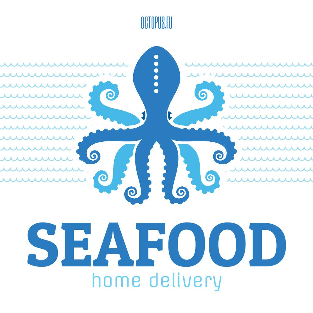 Seafood Octopus in Sea Waves in Blue — Créer un visuel
