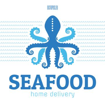 Seafood Octopus in Sea Waves in Blue | Square Video Template
