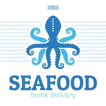 Seafood Octopus in Sea Waves in Blue