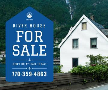 Real Estate Ad House on River Bank