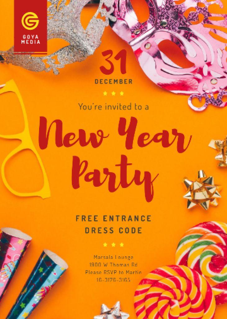 Modèle de visuel New Year Party Invitation Shiny Decorations - Invitation