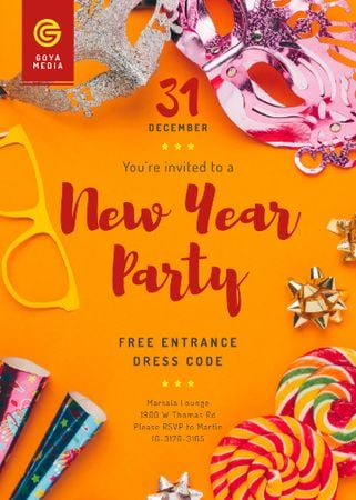 Plantilla de diseño de New Year Party Invitation Shiny Decorations Invitation