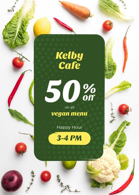 Plantilla de diseño de Happy Hour Cafe Offer Fresh Vegetables Flayer