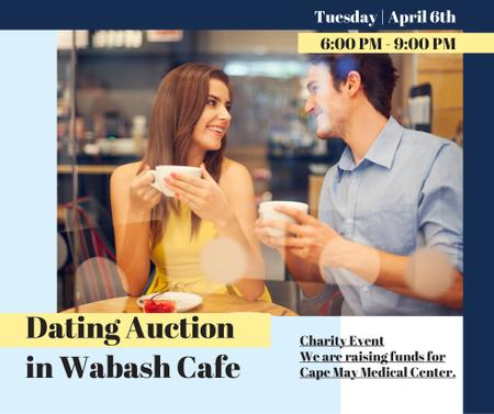 Modèle de visuel Dating Auction in Couple with coffee in Cafe - Facebook