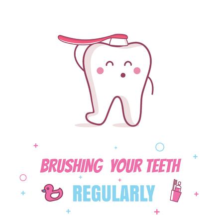 Modèle de visuel Cartoon Tooth Brushing Itself - Animated Post