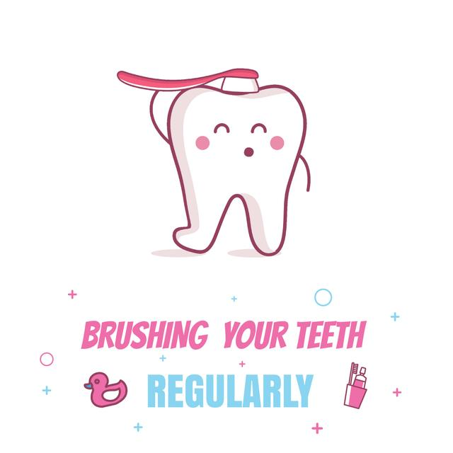 Ontwerpsjabloon van Animated Post van Cartoon Tooth Brushing Itself