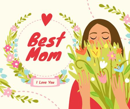 Dreamy girl holding Mother's Day bouquet Facebook Modelo de Design